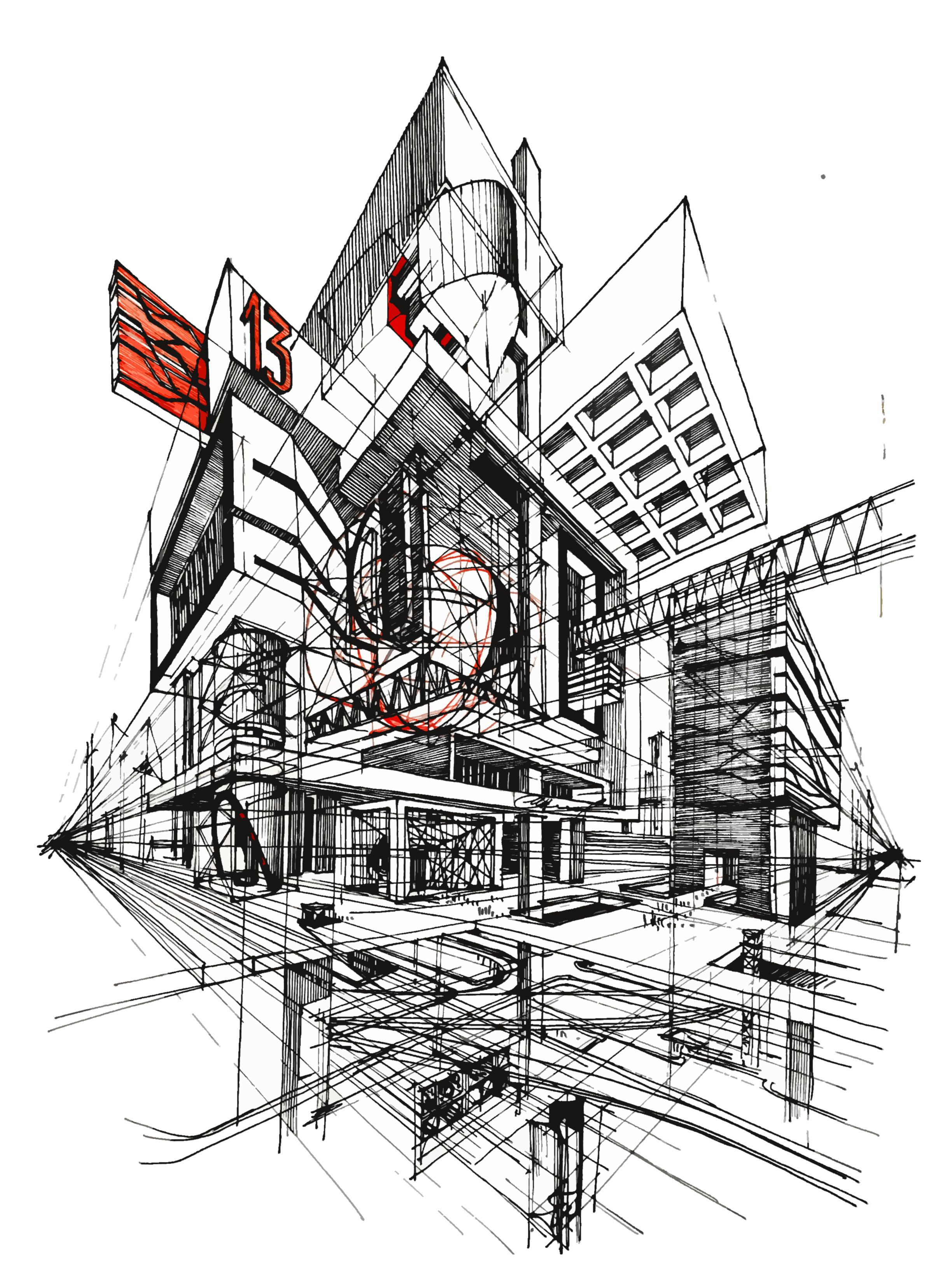 Architecture fantasy urban sketch yury fadeev art artist for Architecture fantastique