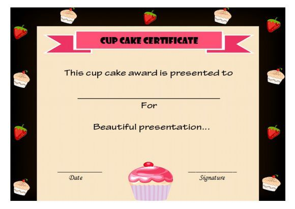 Cup cake certificate Cake Competition Certificates Pinterest - fresh employee of the month certificate free