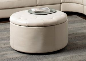 Easy And Stylish Cream Fabric Color Leather Like Storage Ottoman W/ 4 Fan  Shaped Ottomans With Shpng....Also At LV Furniture Direct Free Shpg