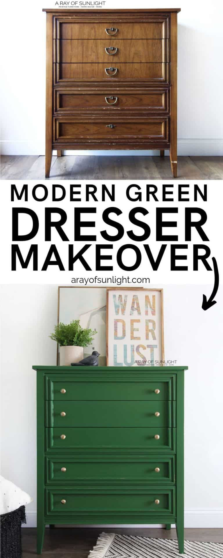 The Green Painted Modern Dresser Modern Dresser Makeover Green Painted Furniture Painted Bedroom Furniture