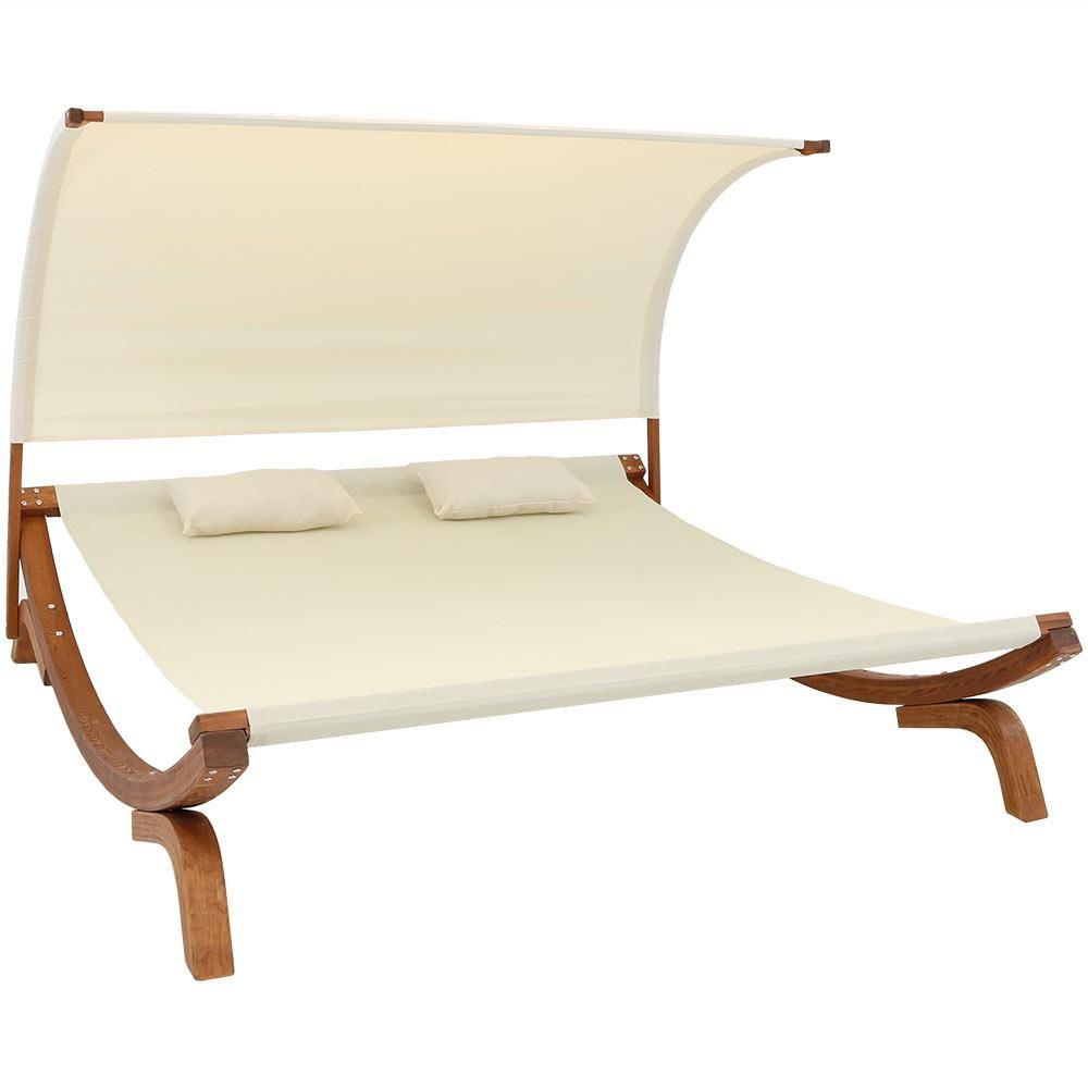 Cool Sunnydaze Decor 2 Person Natural Wood Outdoor Chaise Lounge Uwap Interior Chair Design Uwaporg