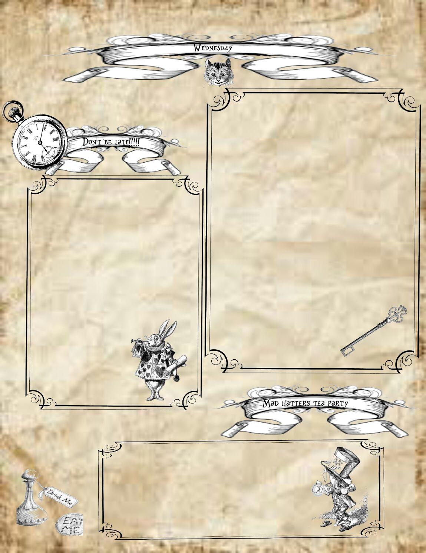 Alice In Wonderland Free Vintage Planner Printables Planner Printables Free Alice In Wonderland Printable Planner
