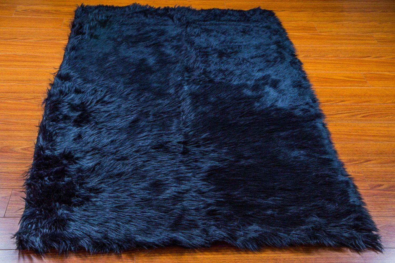 Rug Faux Fur Area Rug Navy Shaggy Rectangle Plush Sheepskin Bedroom Living Room Ebay Faux Fur Area Rug Nursery Area Rug Navy Decor