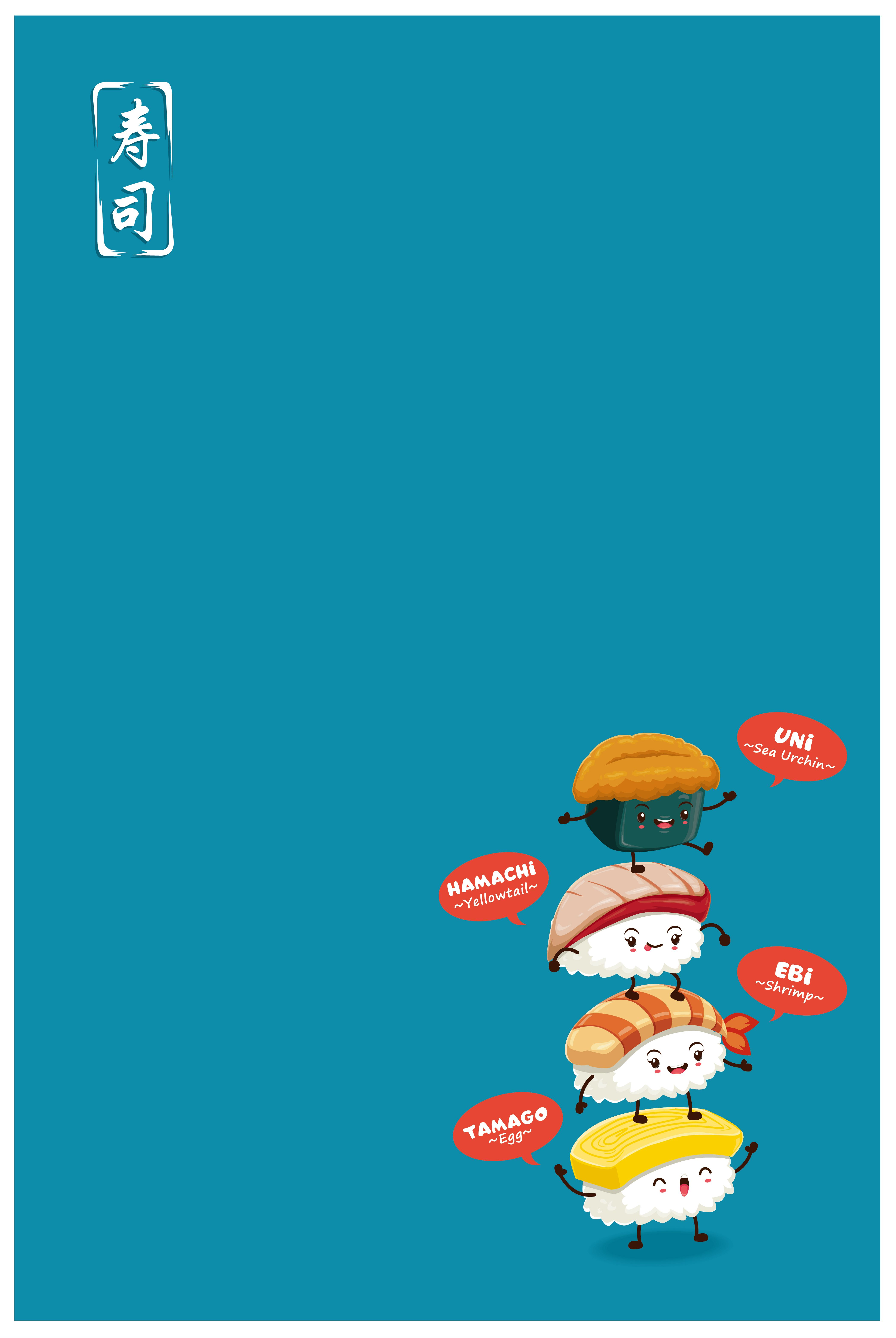 Cute Sushi Cartoon Poster Background Material in 2020 ...
