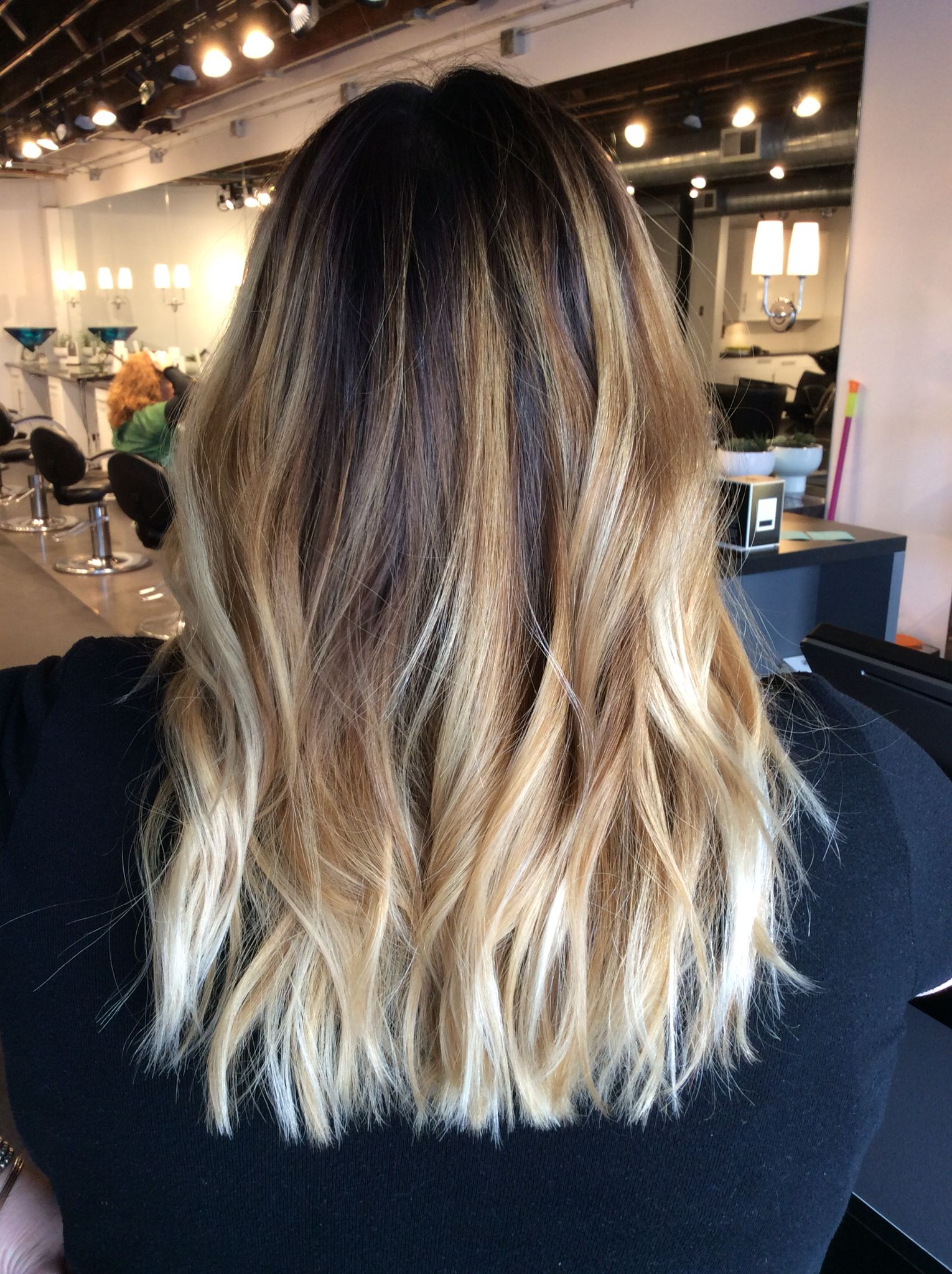 Ombré balayage with dark brown root. Warm blonde balayage