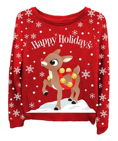baby christmas sweater with red nose reindeer