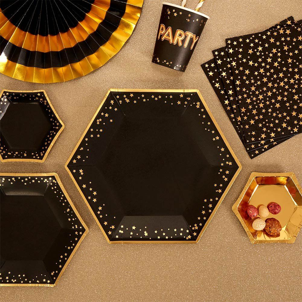 8 Black And Gold Star Plates Girls Birthday Party Plates Baby