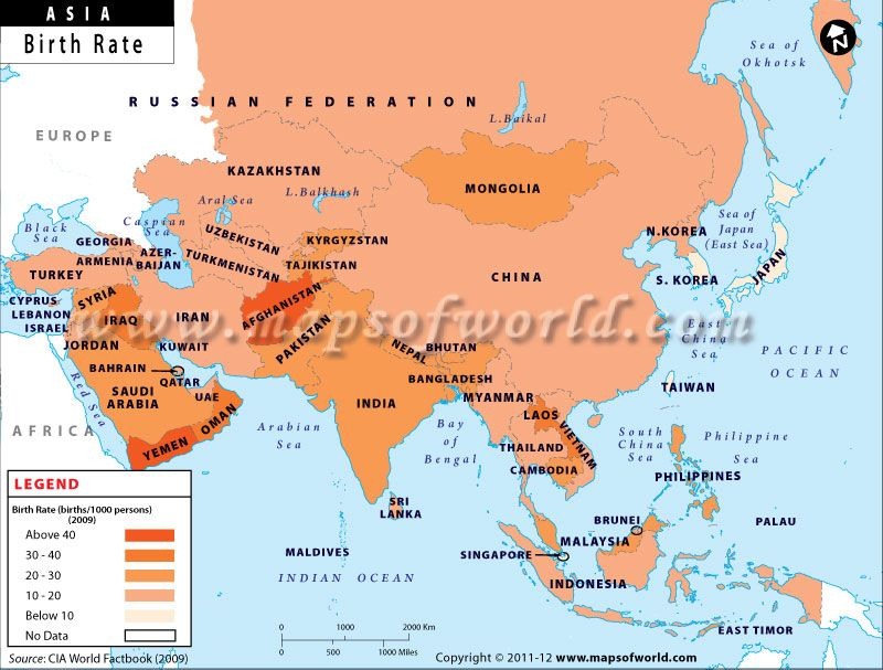 Map 9f Asia.Map Of Asian Countries By Birth Rate School Coastal Country