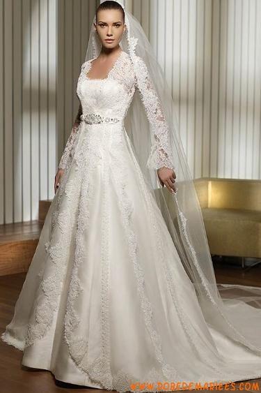 robe de mari e hiver satin dentelle avec veste robe de