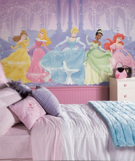Amazing Disney Princess Wallpaper Murals Stickers For Modern Girls And Kids Bedroom Design Ideas