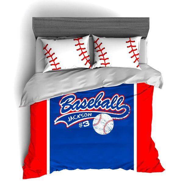Personalized Baseball Bedding Custom Duvet Or Comforter Sets For Baseball Themed Bedroom Baseball Themed Bedroom Baseball Bed Baseball Bedroom