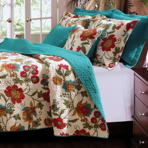 Tropical Floral Blue Green Teal Cotton Reversible Bedding
