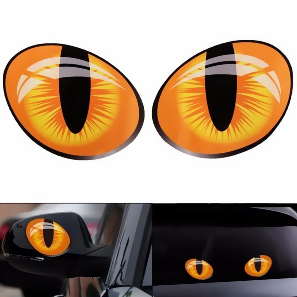 2pcs 3d funny cat eyes car sticker cute simulation