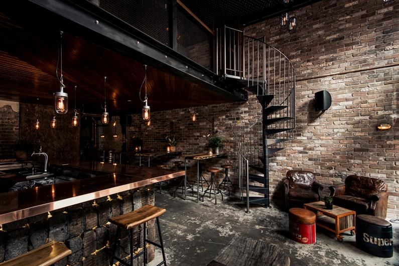 Donny S Bar Industrial Design With Rustic Accents By Luchetti Krelle Bar Interior Design Bar Interior New York Loft