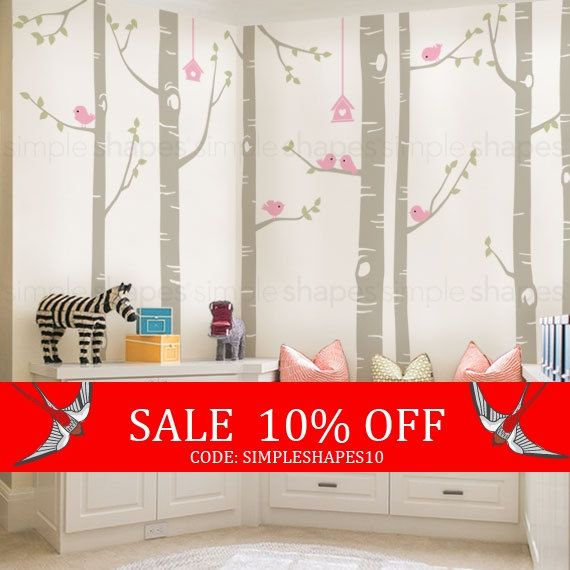 Sale  Birch Tree Decal  Birds Wall Sticker Set by SimpleShapes