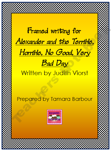 framed writing for alexander and the terrible horrible no good very bad day free prek 2nd. Black Bedroom Furniture Sets. Home Design Ideas