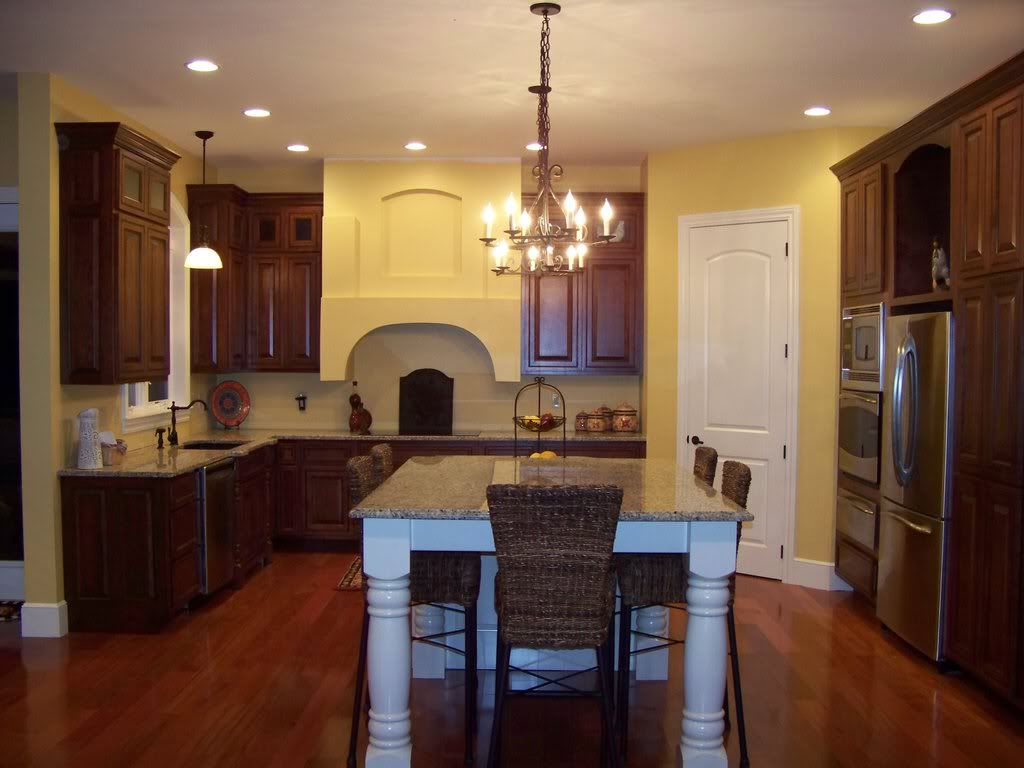 Kitchen Tremendous Brown Wood Floor Chocolate Wooden Cabinet Simple Chandelier Granite Countertop Ce Yellow Kitchen Walls Cherry Cabinets Kitchen Kitchen Paint