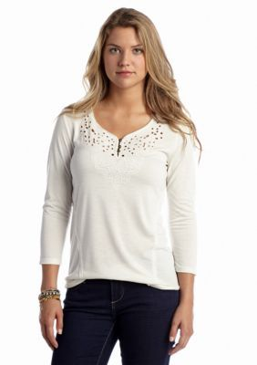 Red Camel  Embroidered Front Knit Top