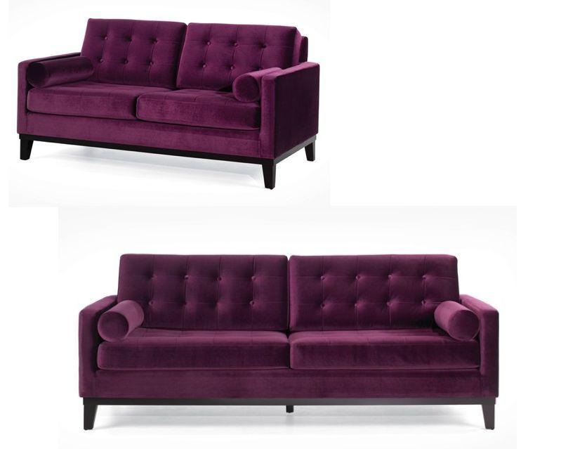 Velvet SOFA LOVESEAT Couch Tufted Plum Purple Mid Century Modern Retro SET  OF 2 #Contemporary