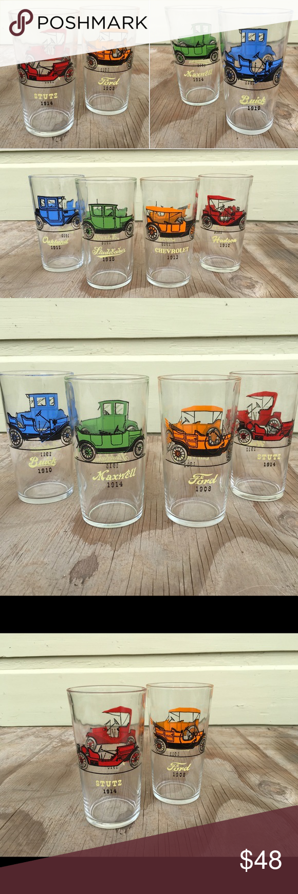 Holiday Gift! Vintage Bar Glasses Set Classic Cars Do they love classic mixed dr…