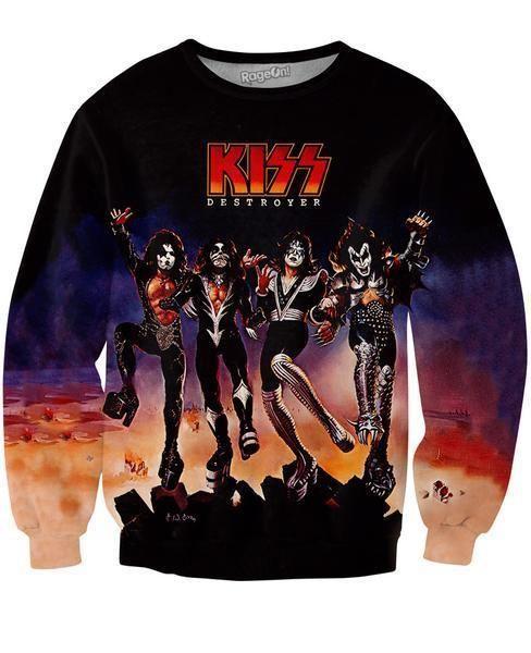 KISS Destroyer Allover Print Sweatshirt FAST WORLDWIDE