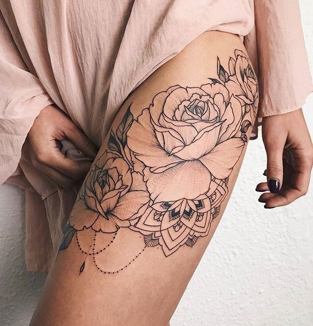 Roses On Upper Leg Tattoo Butterfly Tattoos For Women Upper Leg Tattoos White Rose Tattoos
