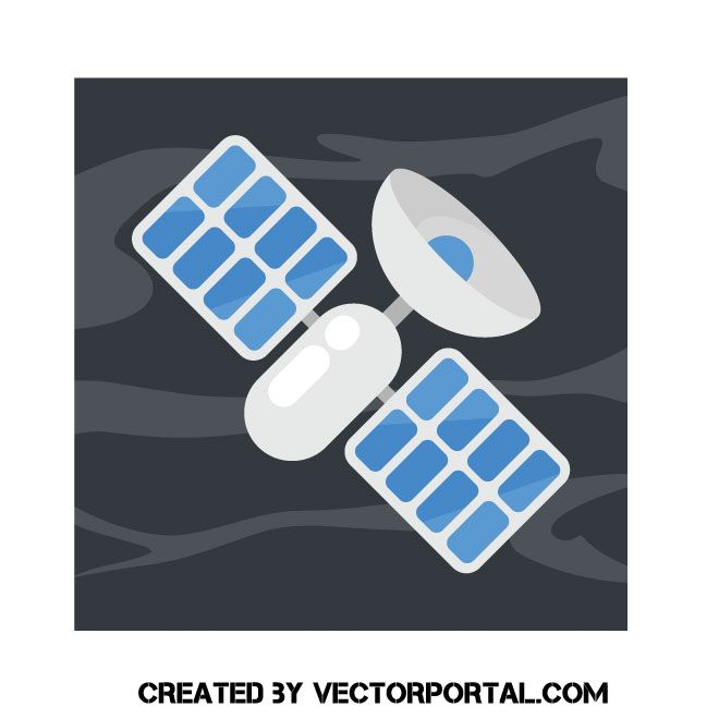 Satellite with solar battery vector image Renewable