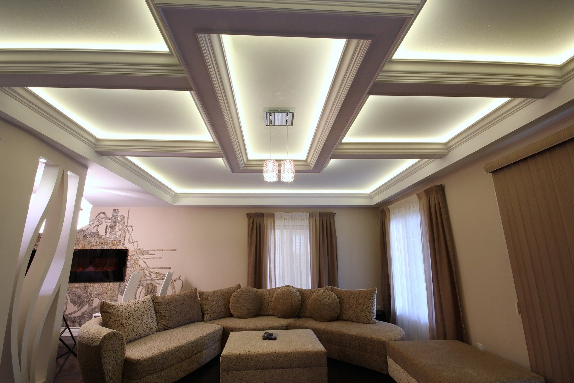 Coffered Ceiling Lighting Image | CEILING FEATURE LIGHTING ...