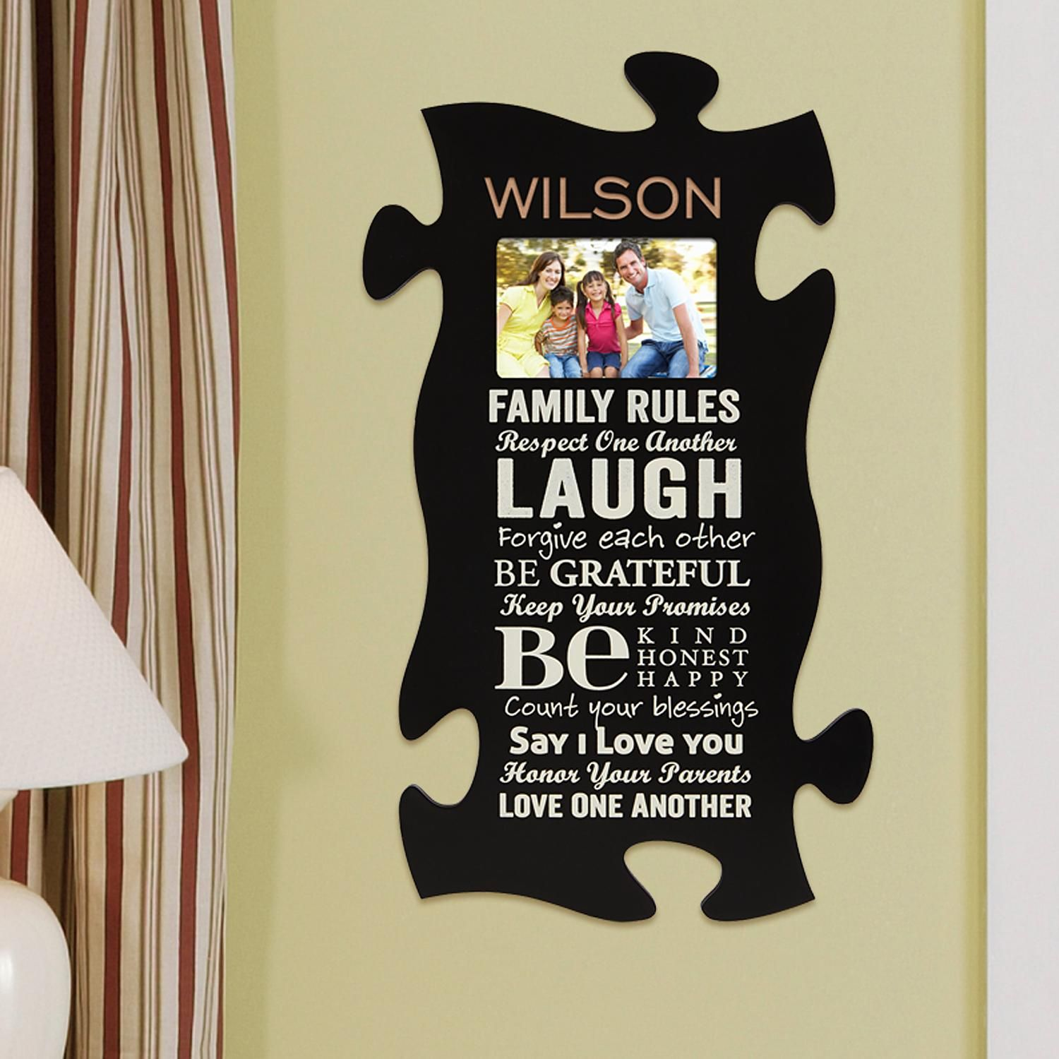 e596686f74 Personalized Family Rules Frame Puzzle Piece - Personal Creations Gifts