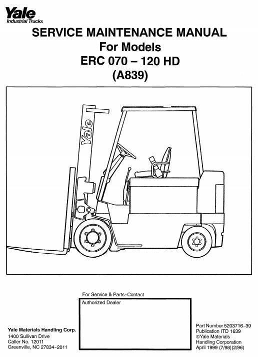 yale forklift truck hd a839 series erc070 erc080 erc100 erc120 rh pinterest co uk yale forklift service manual pdf yale forklift service manual pdf