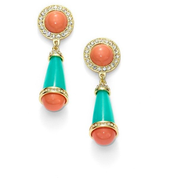 Kenneth Jay Lane Coral, Jade & Crystal Deco Drop Earrings ($75) ❤ liked on Polyvore