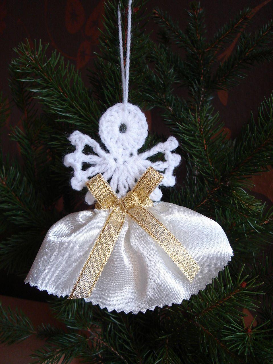 Piekne Szydelkowe Aniolki Aniolek Na Choinke 6615497520 Oficjalne Archiwum Allegro Christmas Crochet Holiday Decor Christmas
