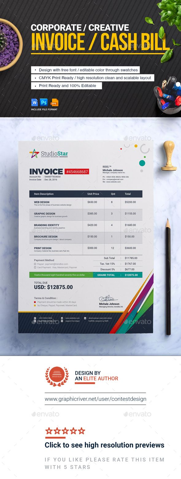 Invoice  Bill Cash Memo Template  Photoshop Psd Simple Invoice