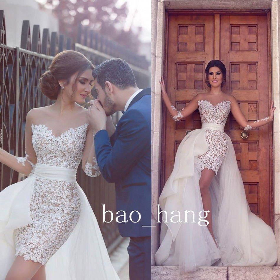 Wedding Dresses Wedding Gown Sheer Long Sleeves White: White Lace Wedding Dress Attachable Skirt Short Bridal