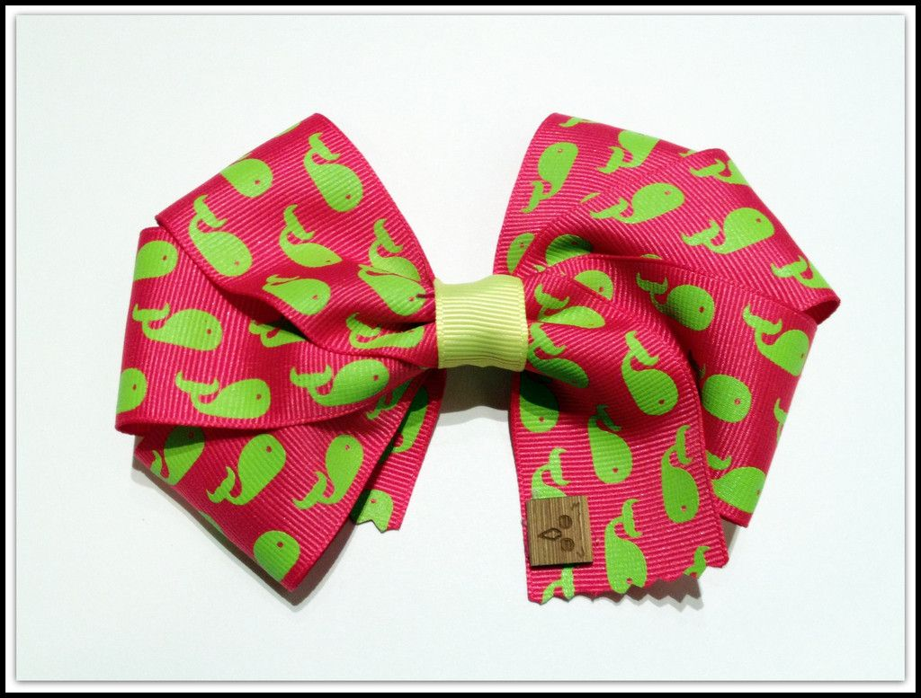 Pink and Green Flat Whale Bow