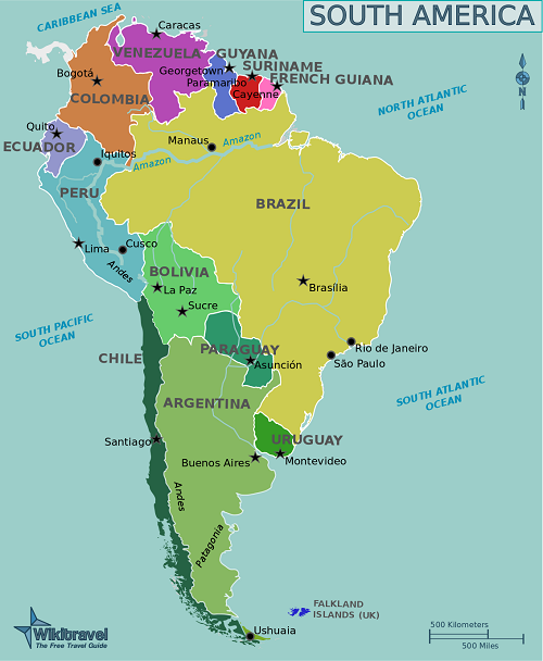 Difference Between South America Map America Map South America Destinations