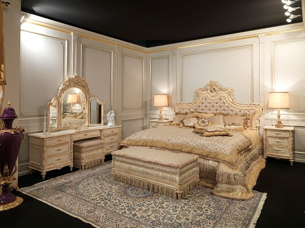 White And Gold Collection Classic Furniture Luigi Xvi Style Classic Bedroom Luxurious Bedrooms Bedroom Design