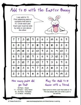 math worksheet : easter math game or math worksheet  from easter math and literacy  : Math Game Worksheets