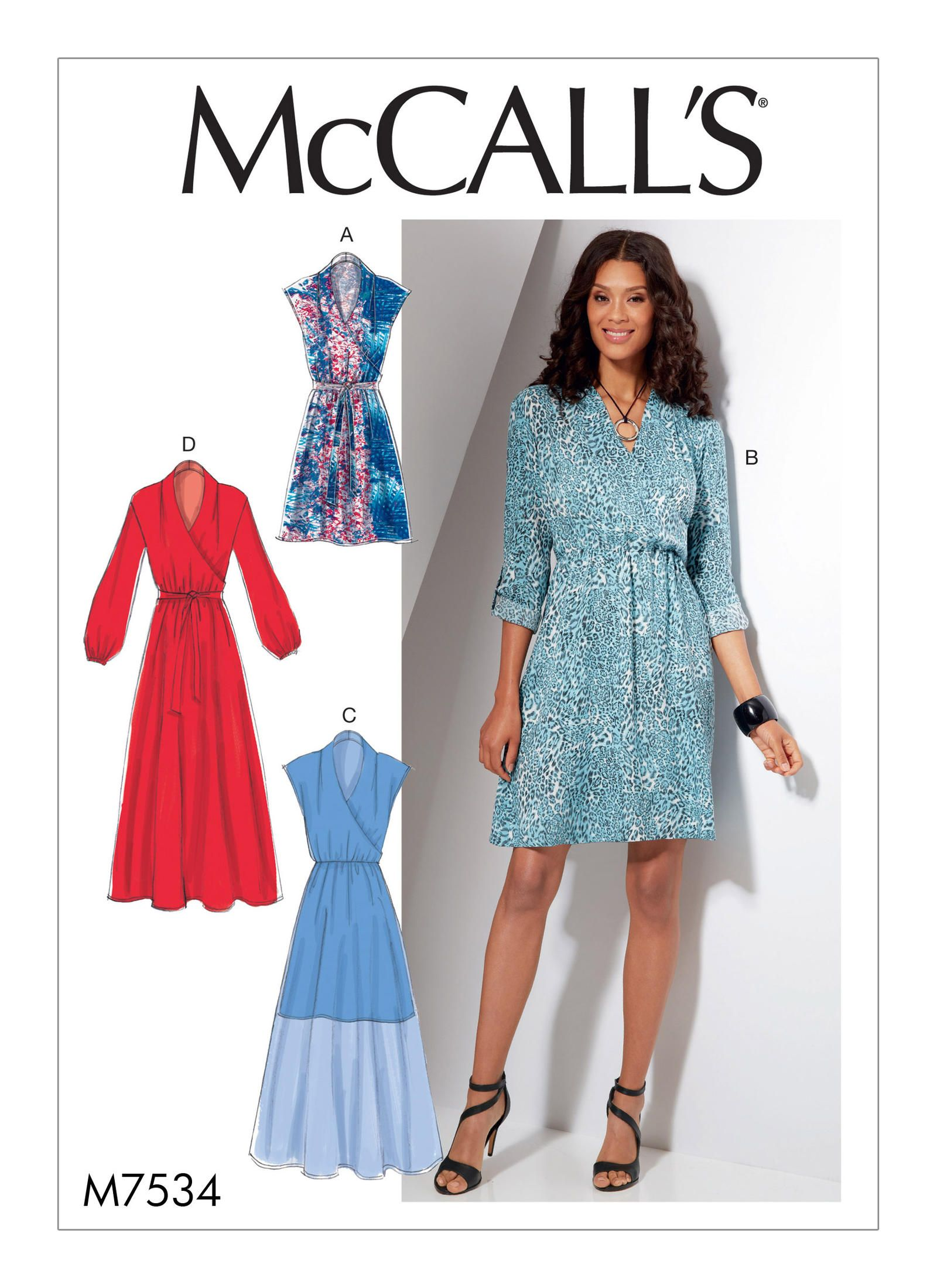 McCall\'s 7534 Misses\' Mock-Wrap Dresses sewing pattern | Sewing ...