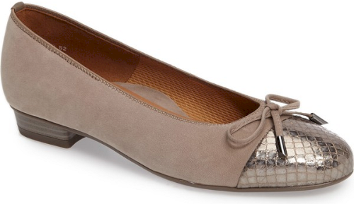 5e233c71b Ara 'Betty' Cap Toe Flat in Beige. A dainty bow accents the glossy patent cap  toe of a comfortable yet eminently chic flat with a well-cushioned footbed  and ...