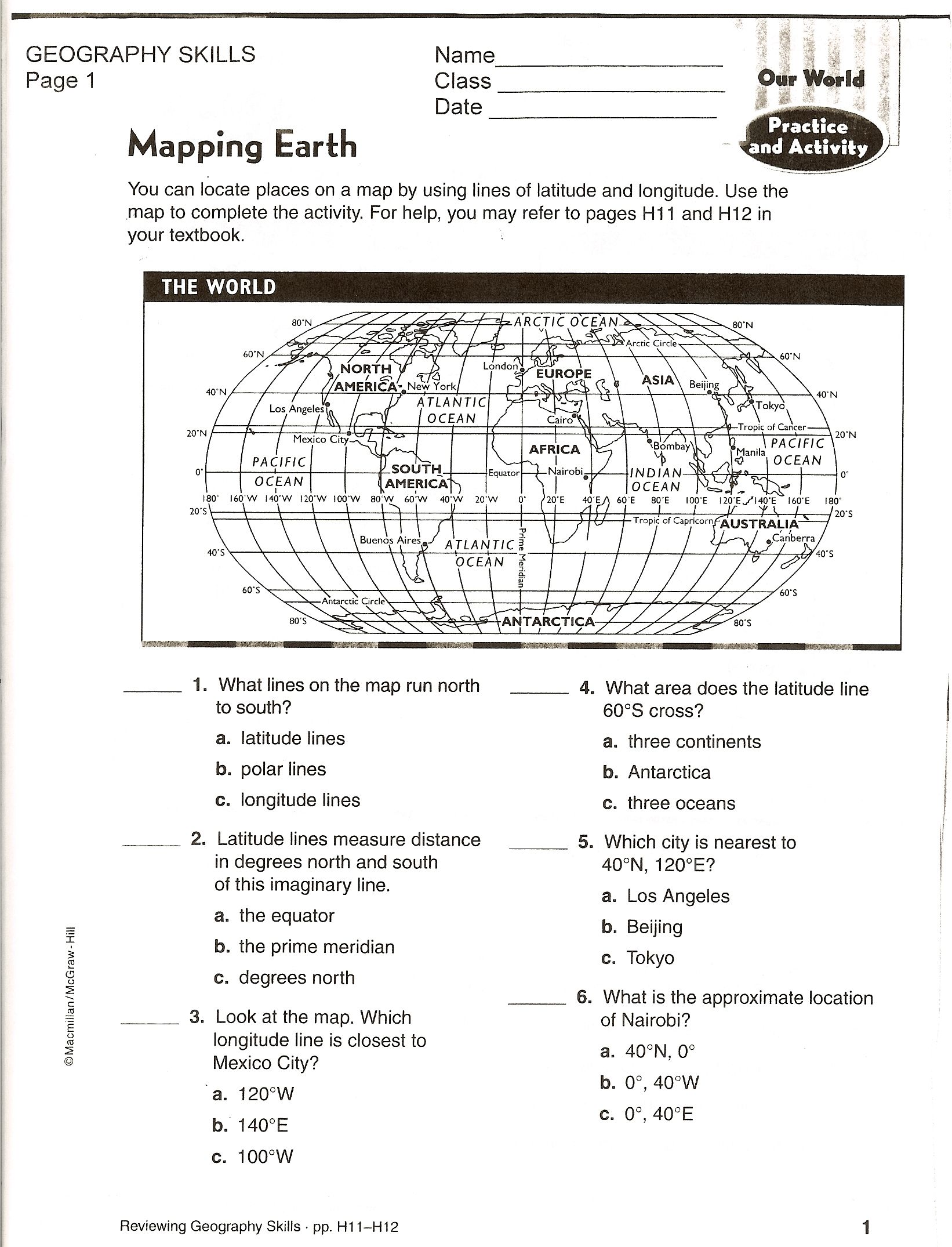 Social Studies Skills – Latitude and Longitude Worksheets Pdf