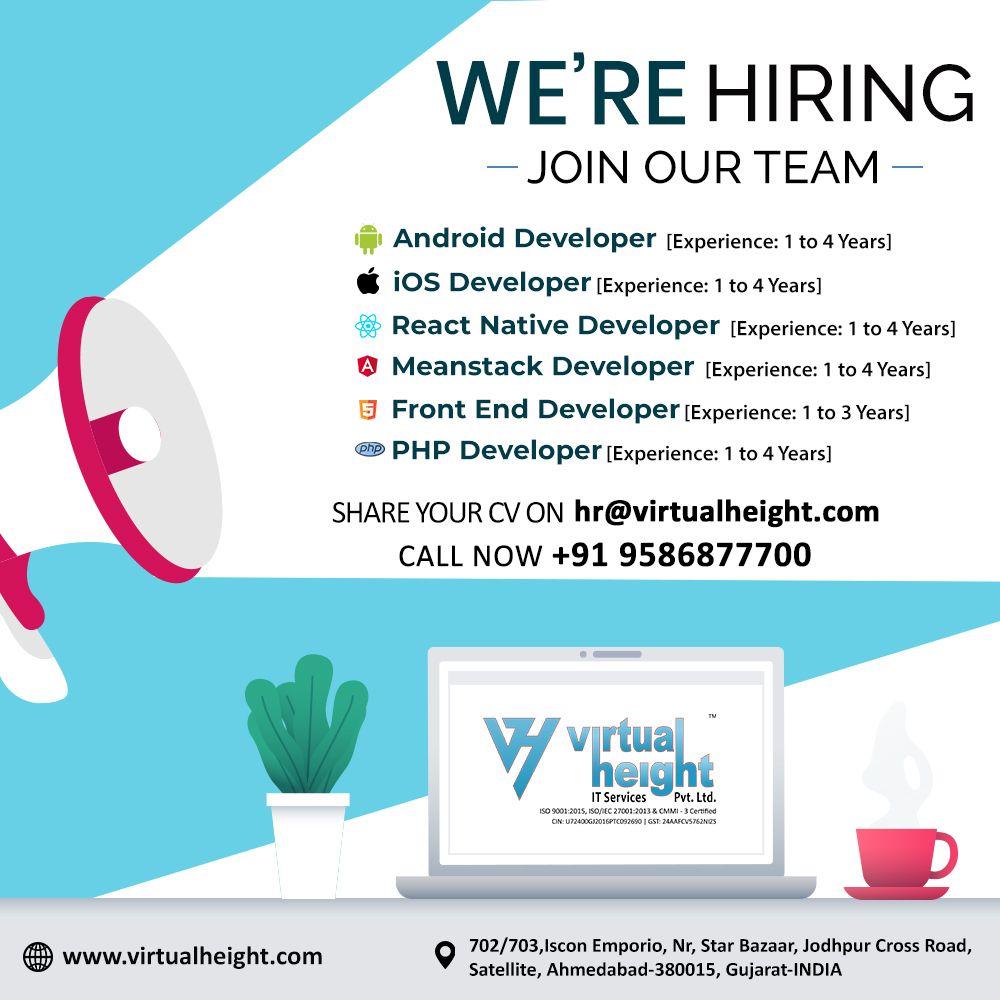 We Re Hiring Web App Developer Ahmedabad Virtual Height App Development Companies Mobile App Development Companies App Development