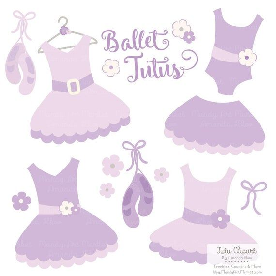Premium Lavender Tutu Clip Art, Pink Dress Clip Art for Digital Scrapbooks, Crafts, Invitations - Tutus, Dresses, Purple Ballet Clipart #clipartfreebies