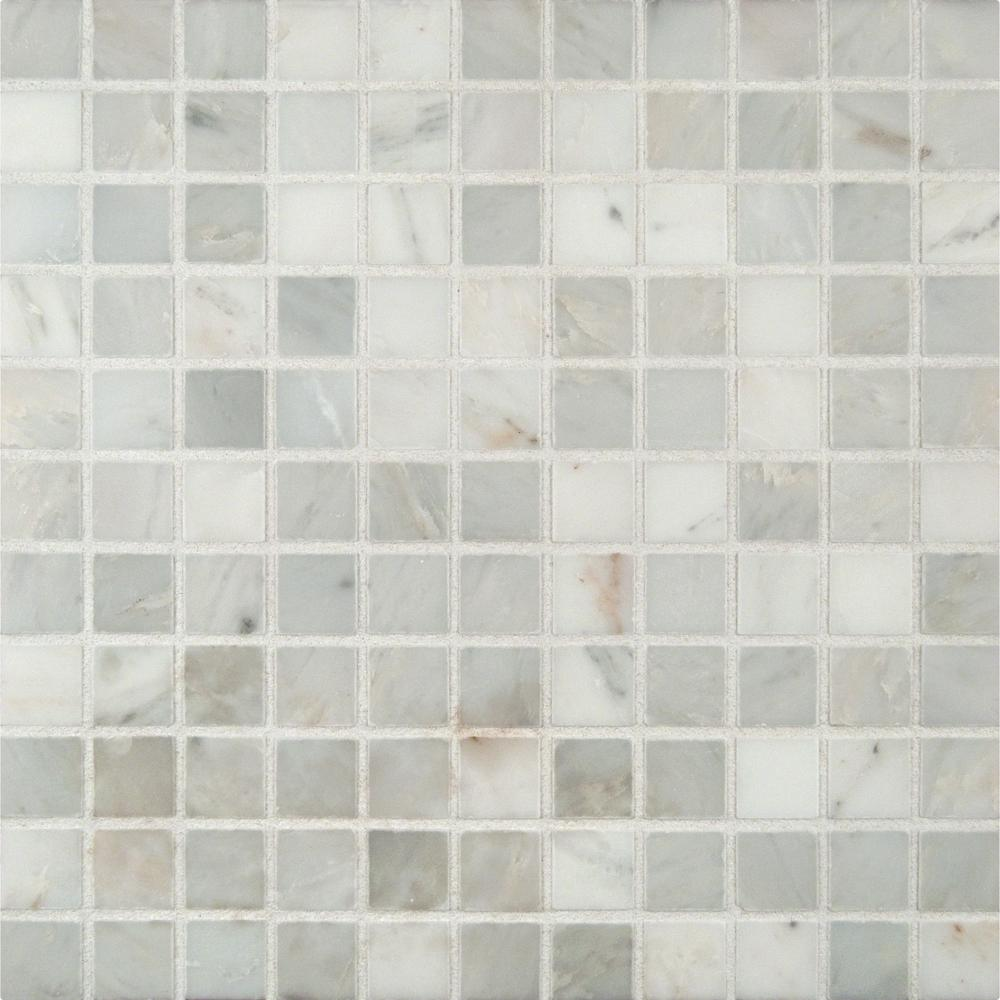 Msi Arabescato Carrara 12 In X 12 In X 10mm Honed Marble Mesh Mounted Mosaic Tile 10 Sq Ft Case Ara 1x1 H Glass Mosaic Tiles Mosaic Tiles Tiles