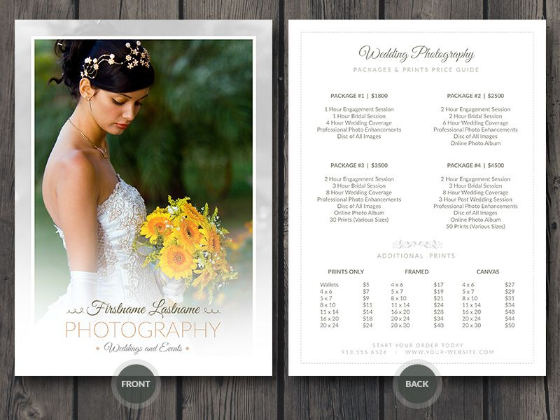 Wedding Photographer Price Guide Card Template | Wedding