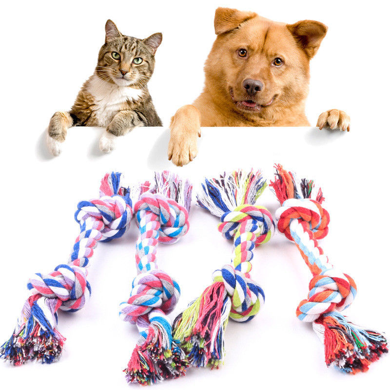 Chew Toy with Knot Fun Tough Strong Puppy Dog Pet Tug War Play Cotton Rope