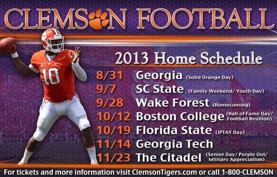 2013 Game Day Designations Clemson Family Weekend Clemson Tigers