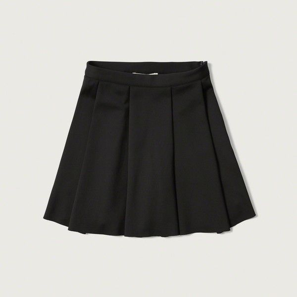 Abercrombie & Fitch Pleated Neoprene Skater Skirt ($40) ❤ liked on Polyvore featuring skirts, black, pleated skirt, skater skirt, abercrombie & fitch, black skater skirt and pleated skater skirt