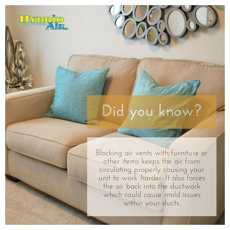 Did You Know Blocking Air Vents With Furniture Or Other Items Keeps The Air From Circulating Properly Causing Your Unit To Work H Duct Work Hvac Services Hvac