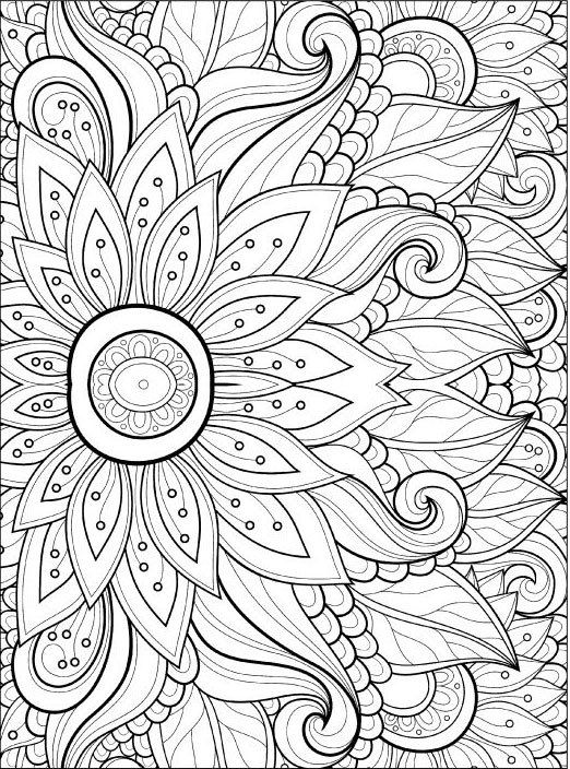 Adult Coloring Pages: Flowers 2-2 | Silk | Pinterest | Adult ...